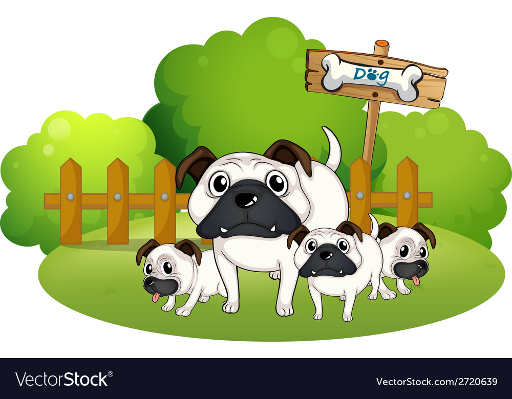 A group of bulldogs near the fence vector | Price: 1 Credit (USD $1)