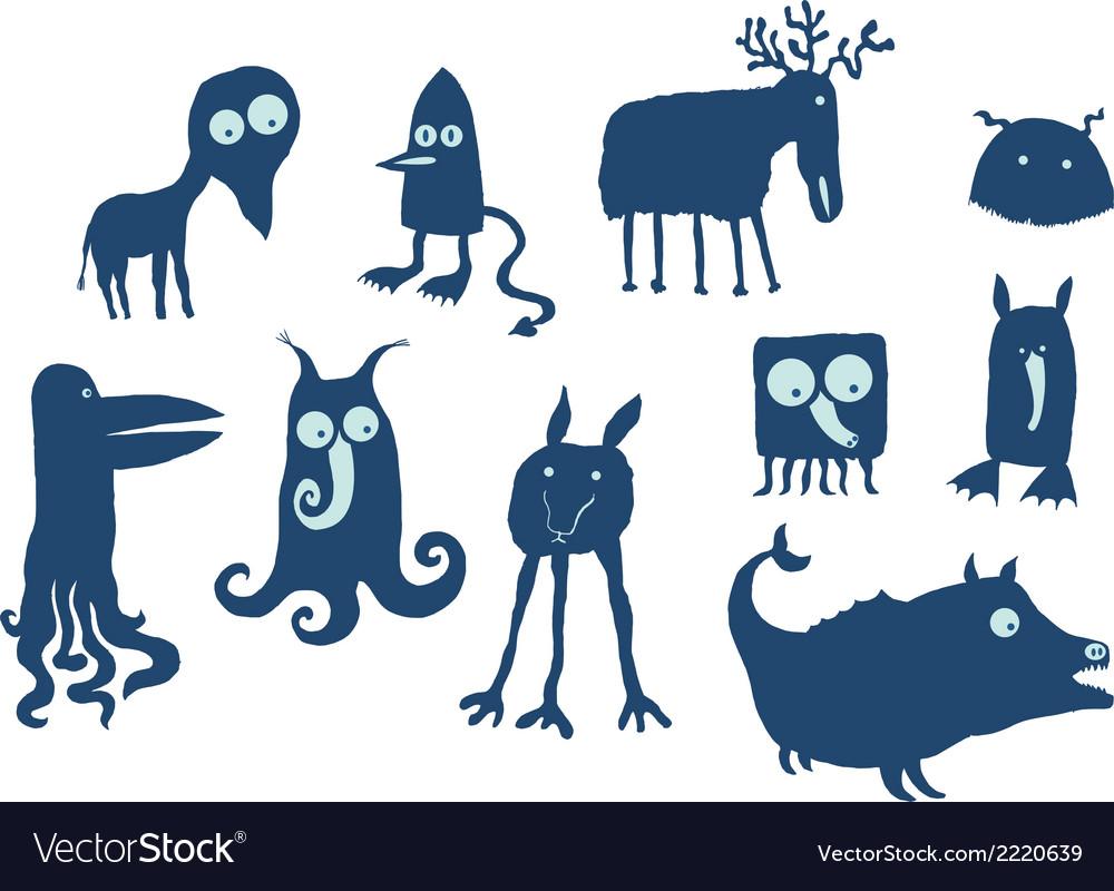 Alien animals vector | Price: 1 Credit (USD $1)
