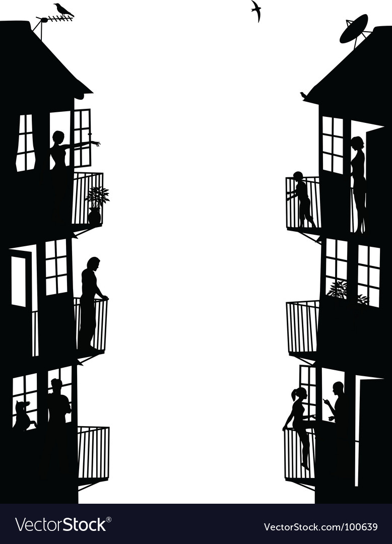 Apartment buildings silhouettes vector | Price: 1 Credit (USD $1)