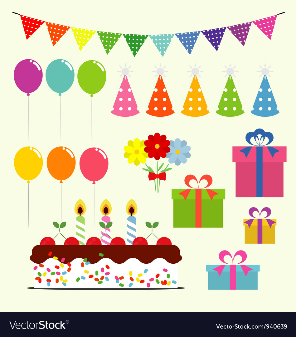 Birthday celebration elements vector | Price: 1 Credit (USD $1)