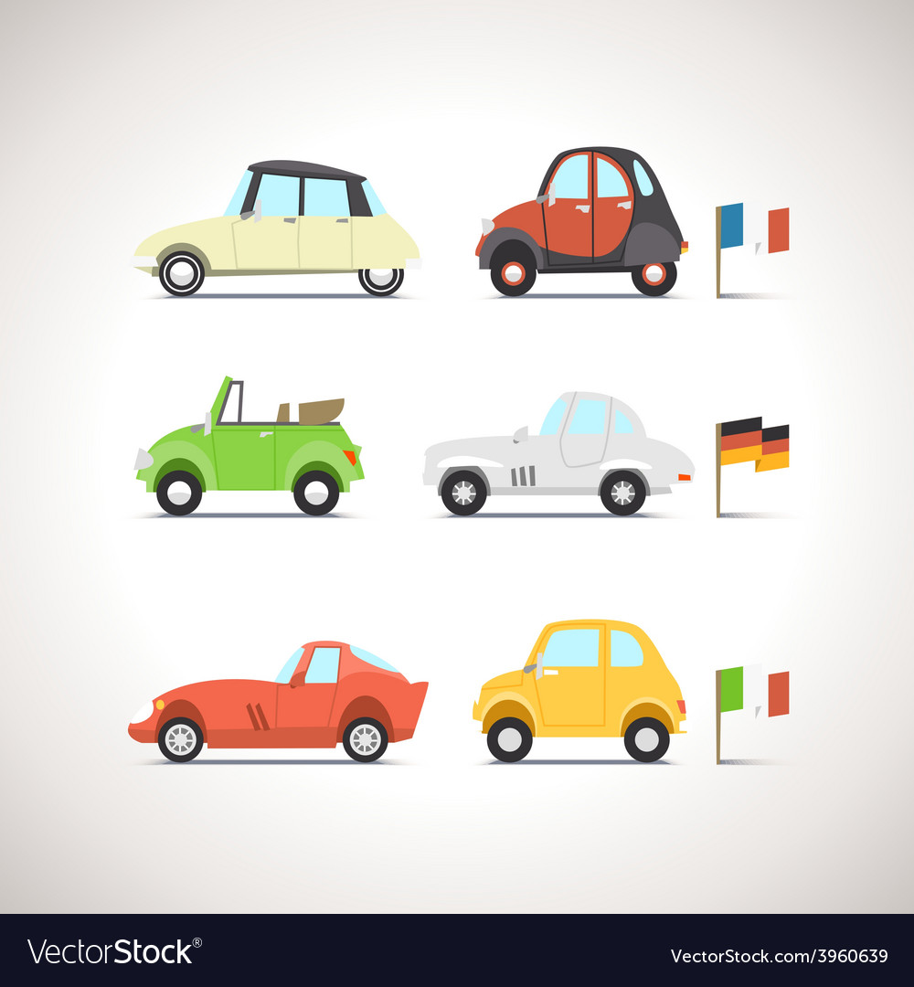 Car flat icon set 8 vector | Price: 1 Credit (USD $1)