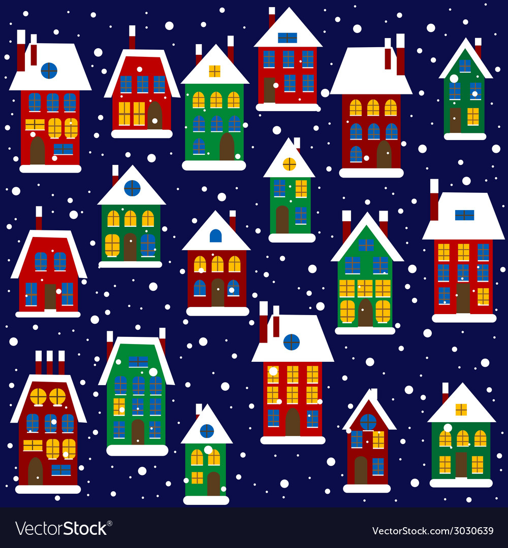 Christmas background with houses vector | Price: 1 Credit (USD $1)