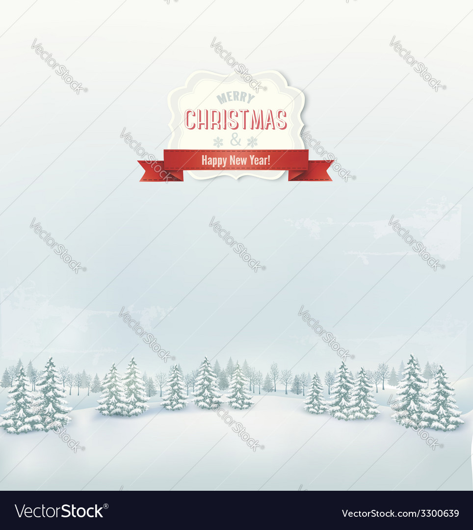 Christmas winter landscape background vector | Price: 3 Credit (USD $3)