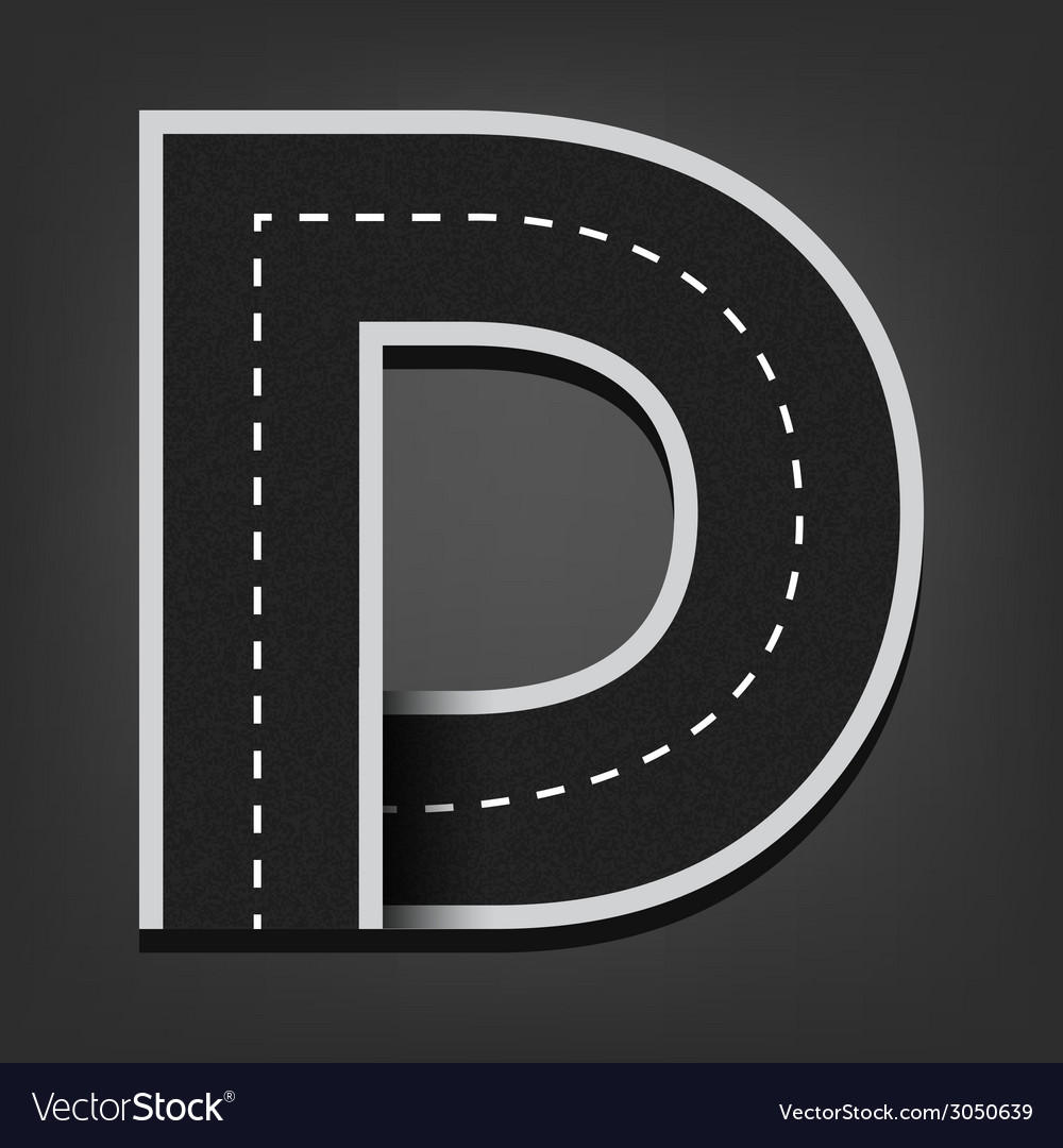 D letter road font vector | Price: 1 Credit (USD $1)