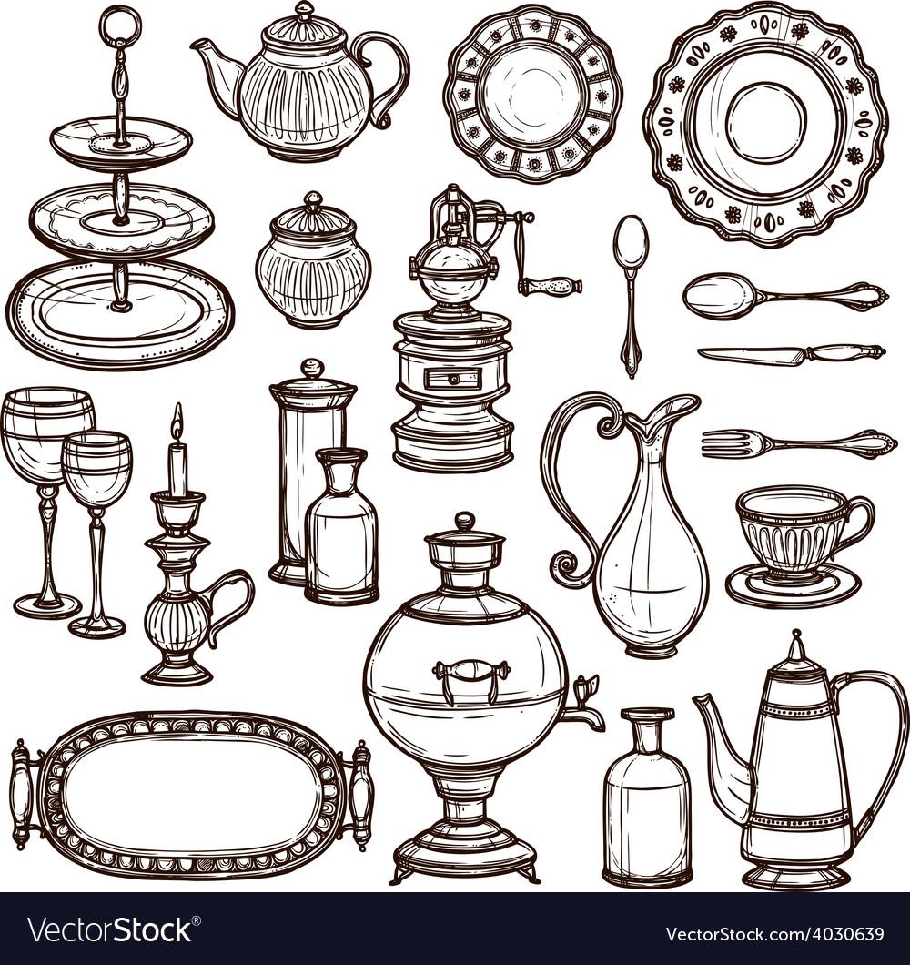 Dishes doodle sketch set print vector | Price: 1 Credit (USD $1)