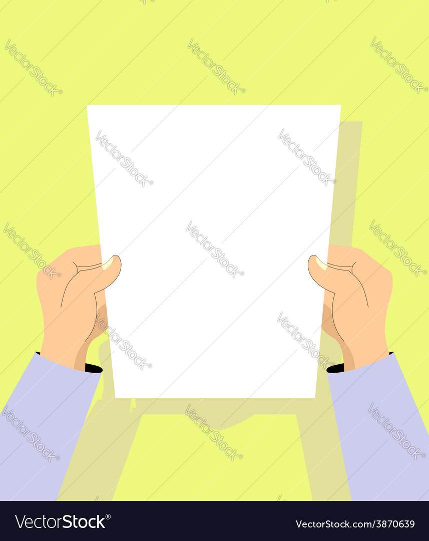 Human hands with paper vector | Price: 1 Credit (USD $1)