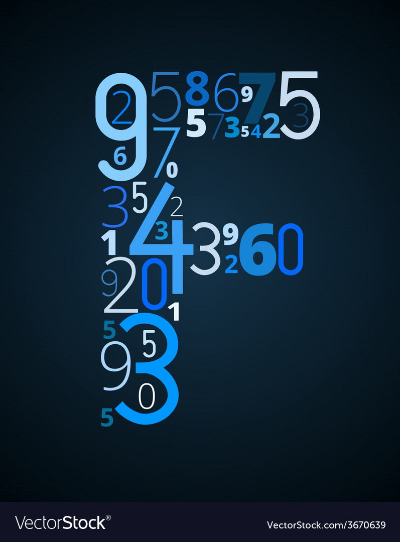 Letter f font from numbers vector | Price: 1 Credit (USD $1)