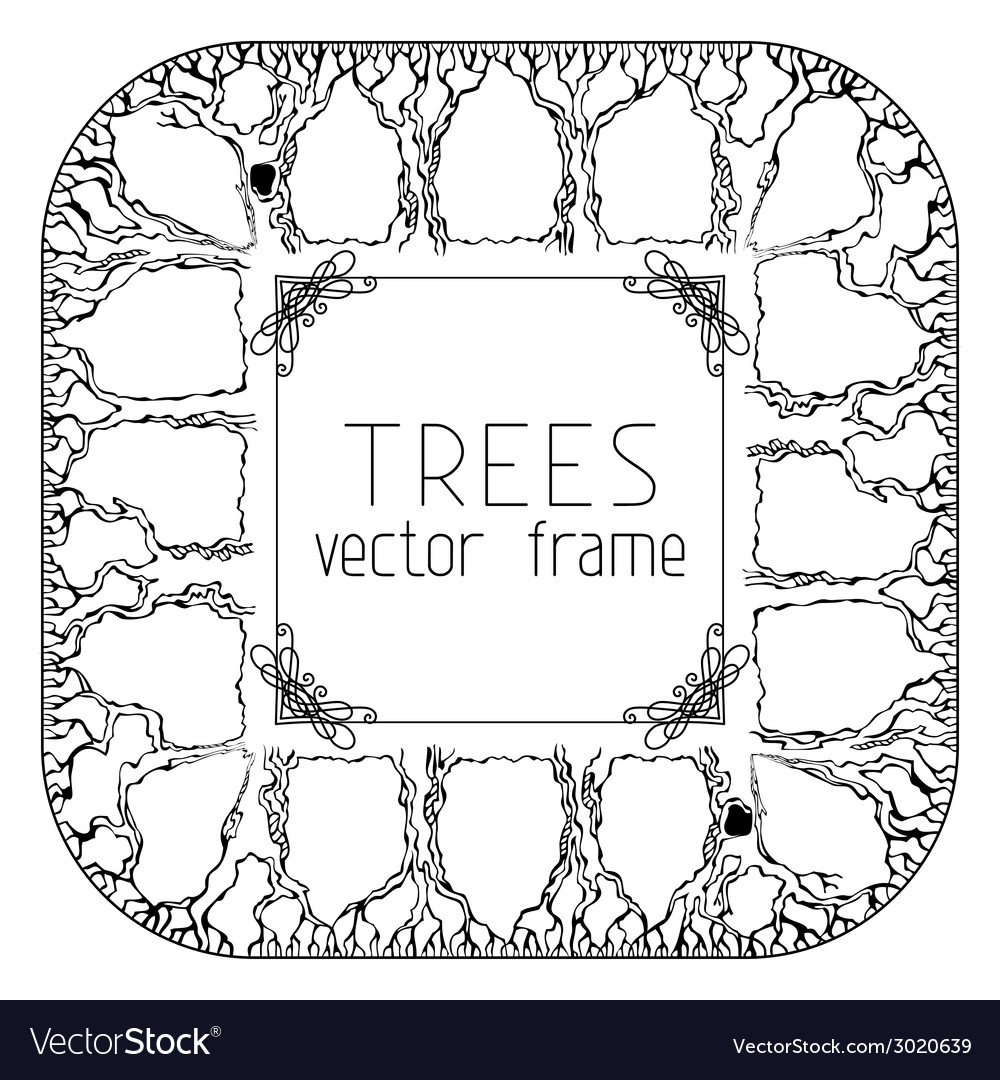 Square trees frame vector | Price: 1 Credit (USD $1)
