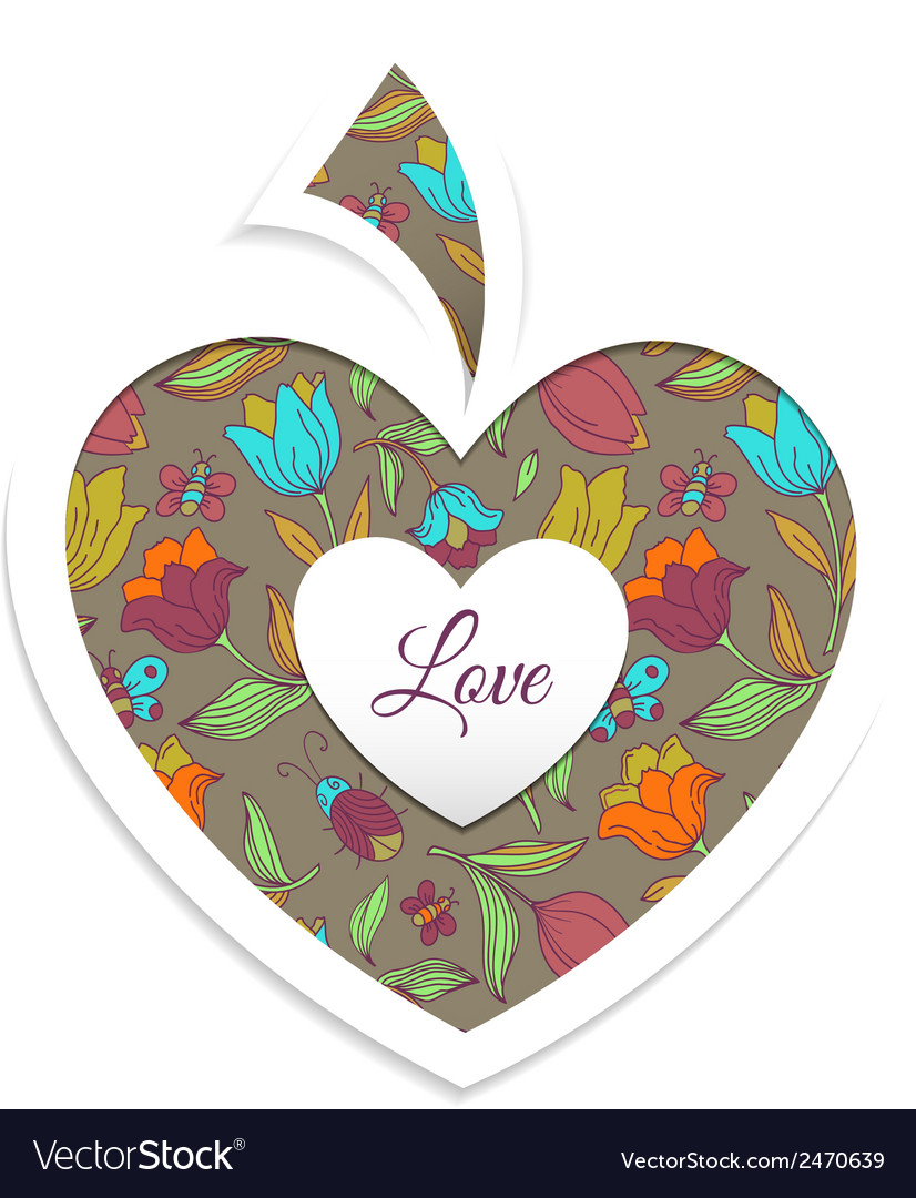 Valentines day card with heart vector   Price: 1 Credit (USD $1)