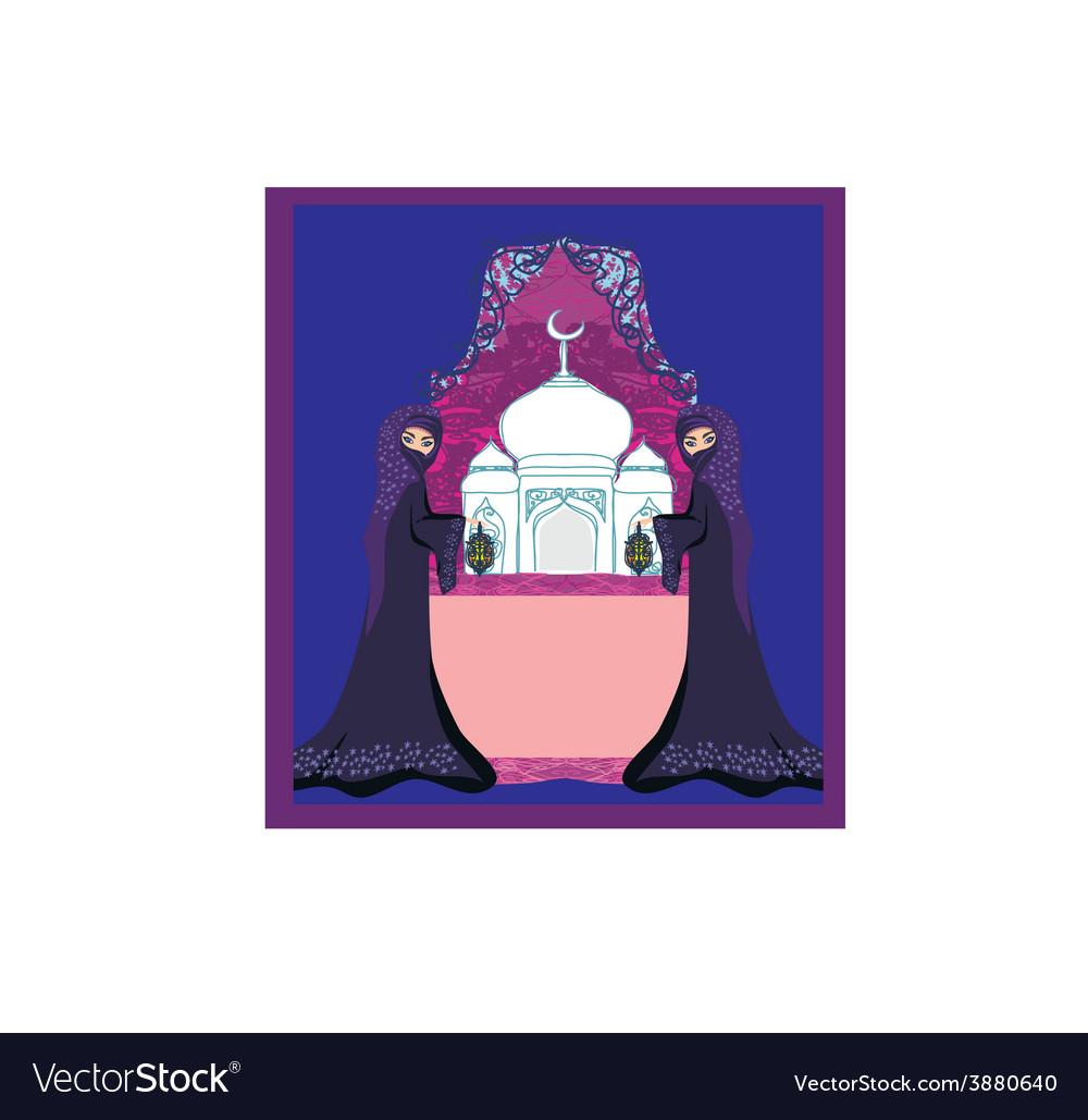 Beautiful muslim women on mosque background vector   Price: 1 Credit (USD $1)