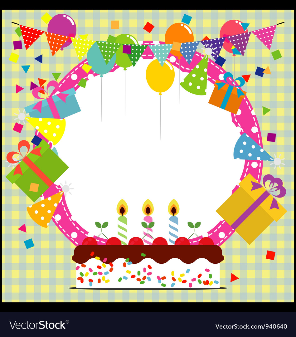 Birthday frame with ballooncake and party hat vector | Price: 1 Credit (USD $1)