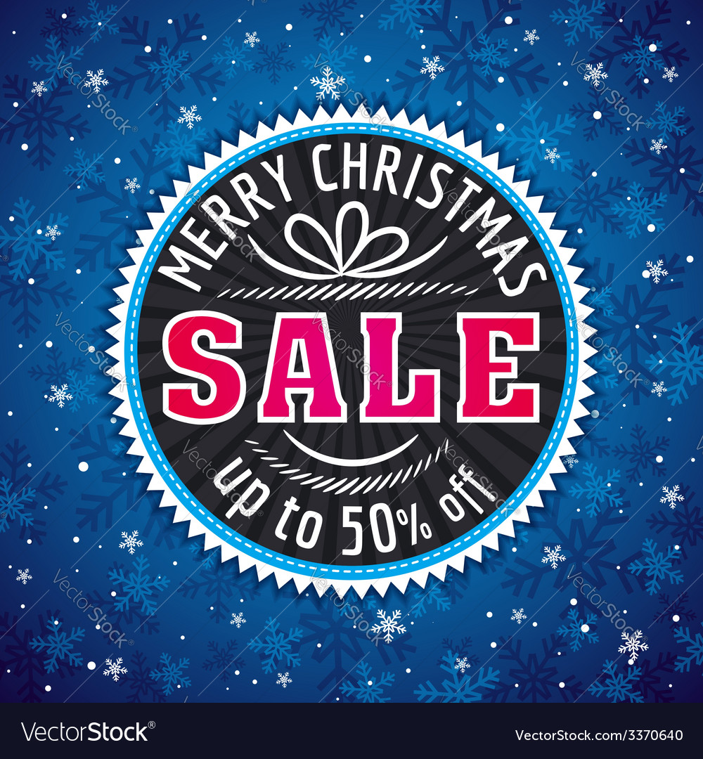Blue christmas background label with sale offer vector | Price: 1 Credit (USD $1)