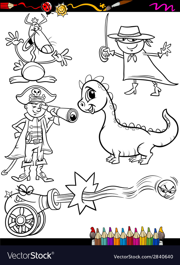 Fantasy set cartoon coloring page vector | Price: 1 Credit (USD $1)