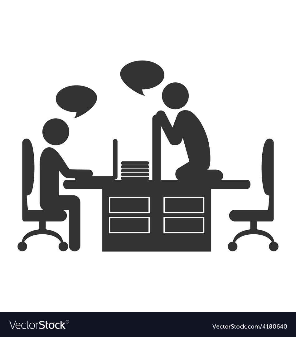 Flat office icon with dialogue between workers on vector | Price: 1 Credit (USD $1)