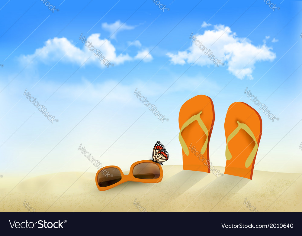 Flip flops sunglasses and a butterfly on a beach vector | Price: 1 Credit (USD $1)