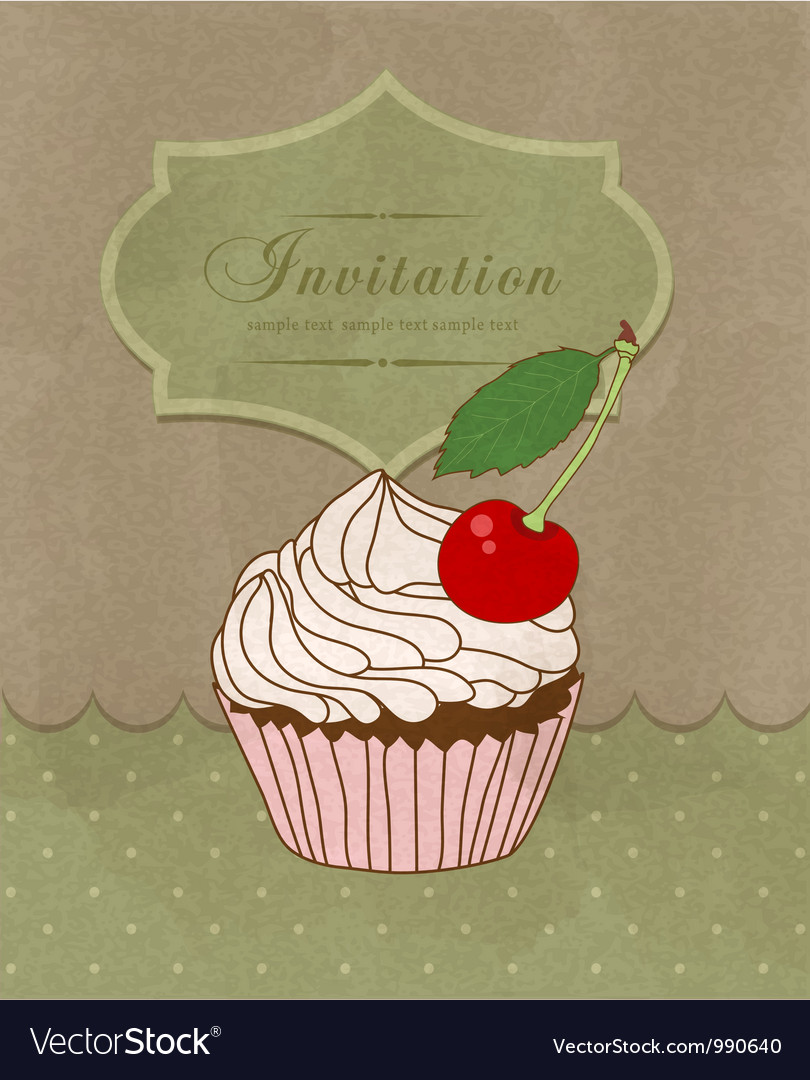 Greeting card with a birthday cake vector | Price: 1 Credit (USD $1)