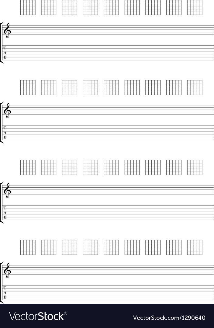 Guitar tab staff vector | Price: 1 Credit (USD $1)