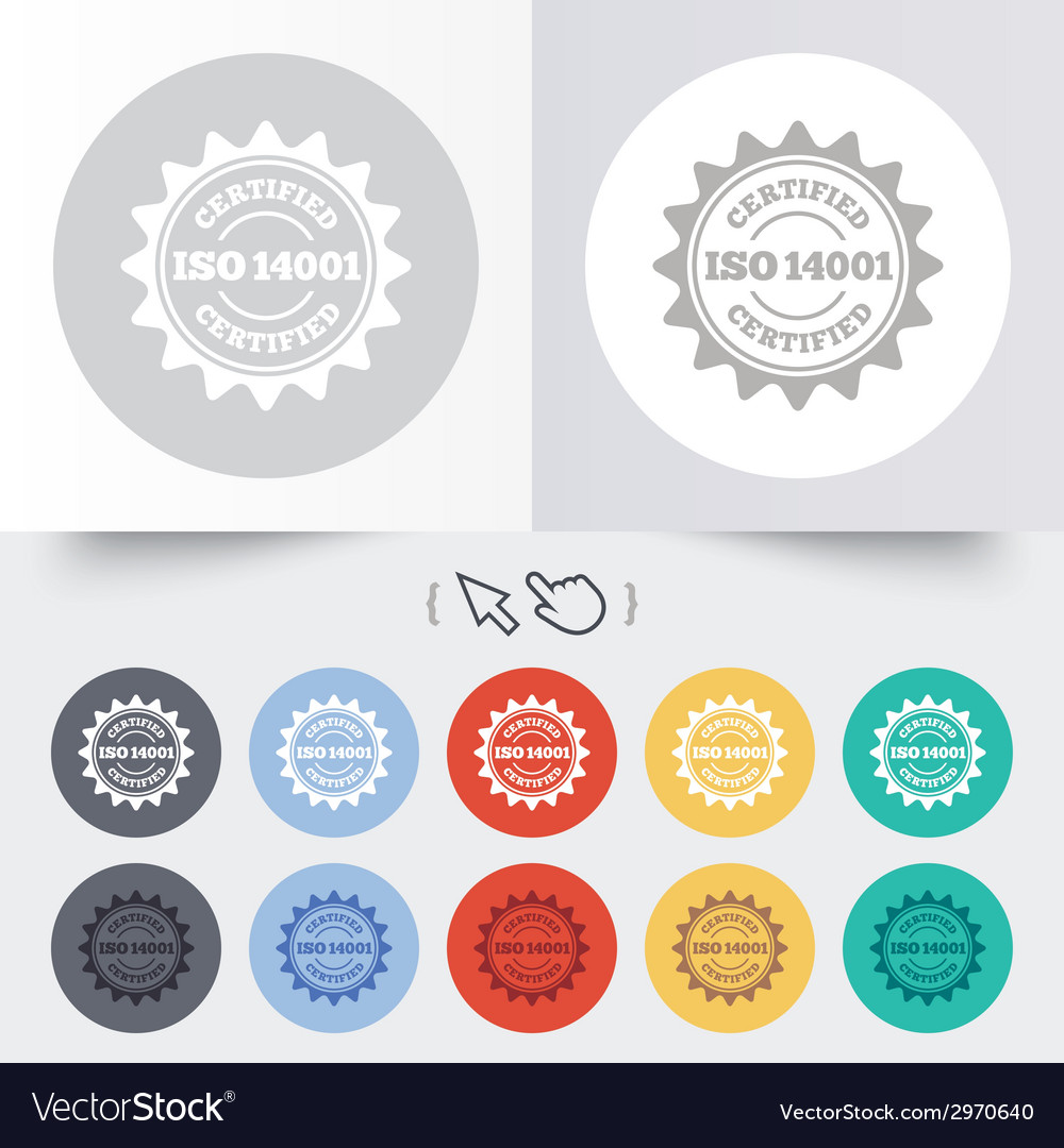 Iso 14001 certified sign certification stamp vector | Price: 1 Credit (USD $1)