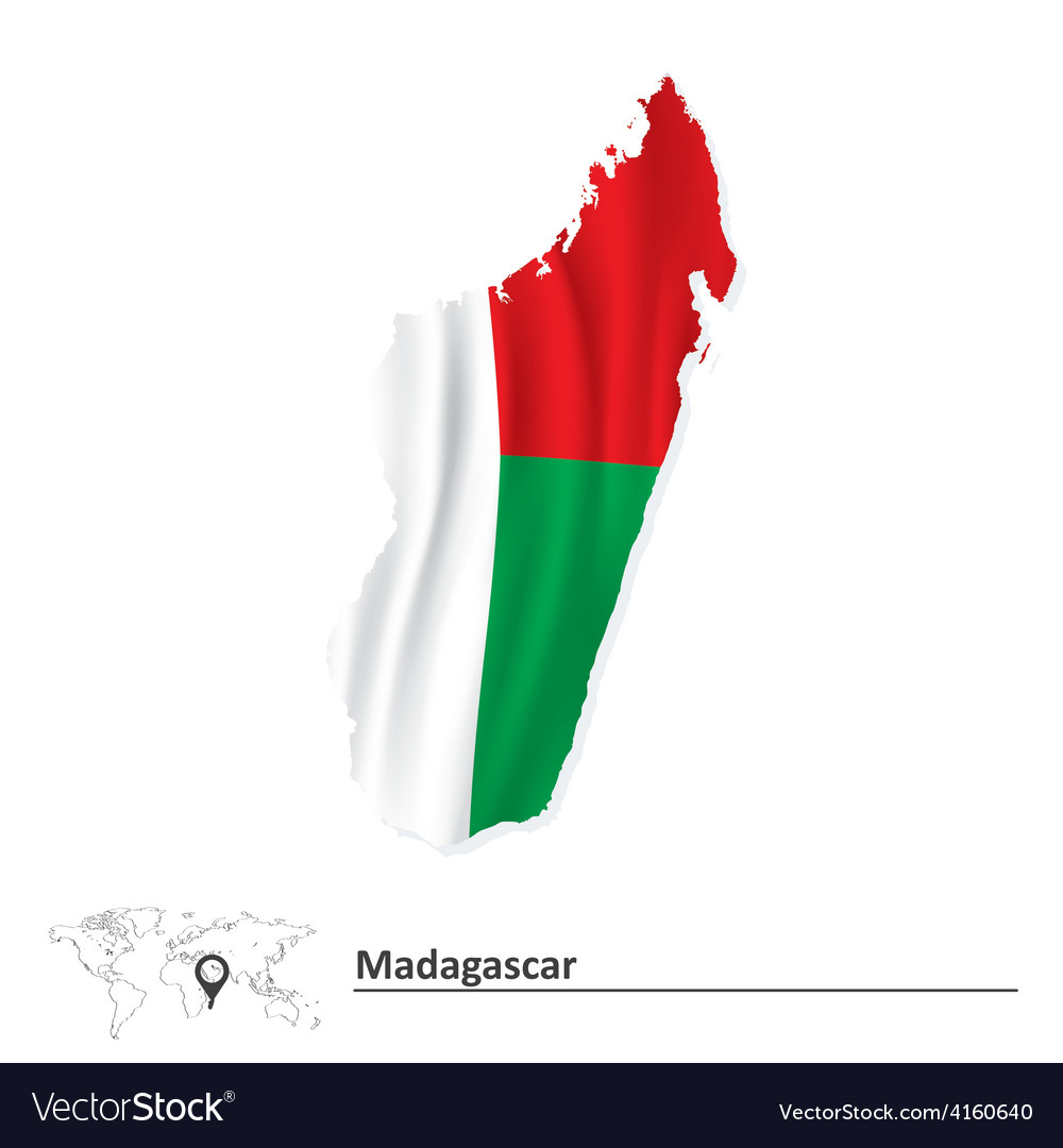 Map of madagascar with flag vector | Price: 1 Credit (USD $1)
