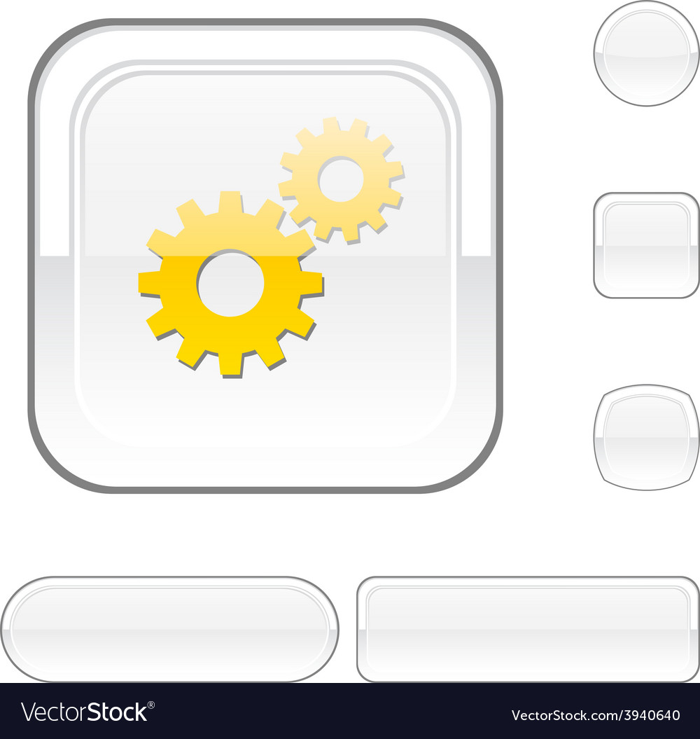 Settings white button vector | Price: 1 Credit (USD $1)