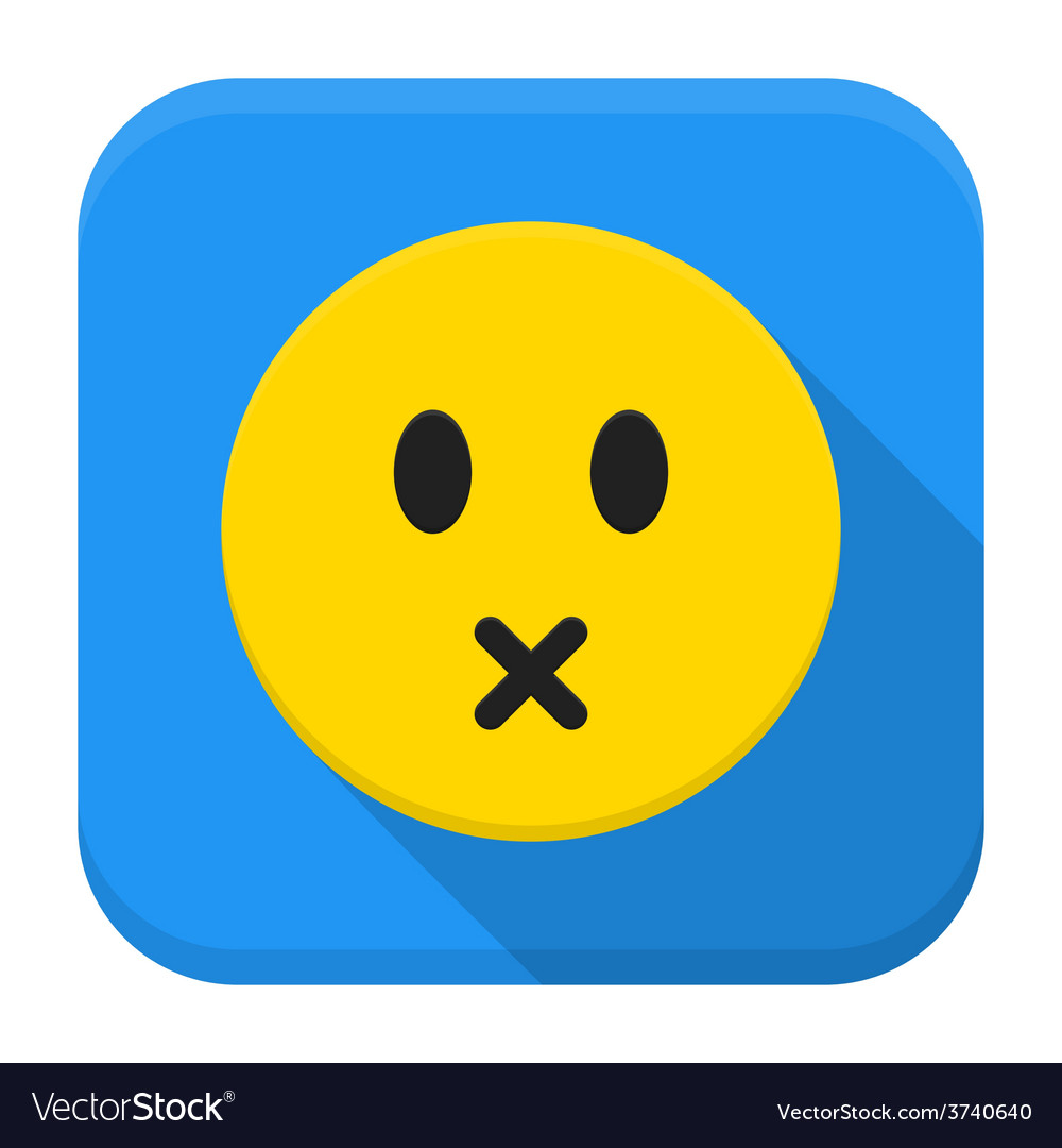 Silent yellow smile app icon with long shadow vector | Price: 1 Credit (USD $1)