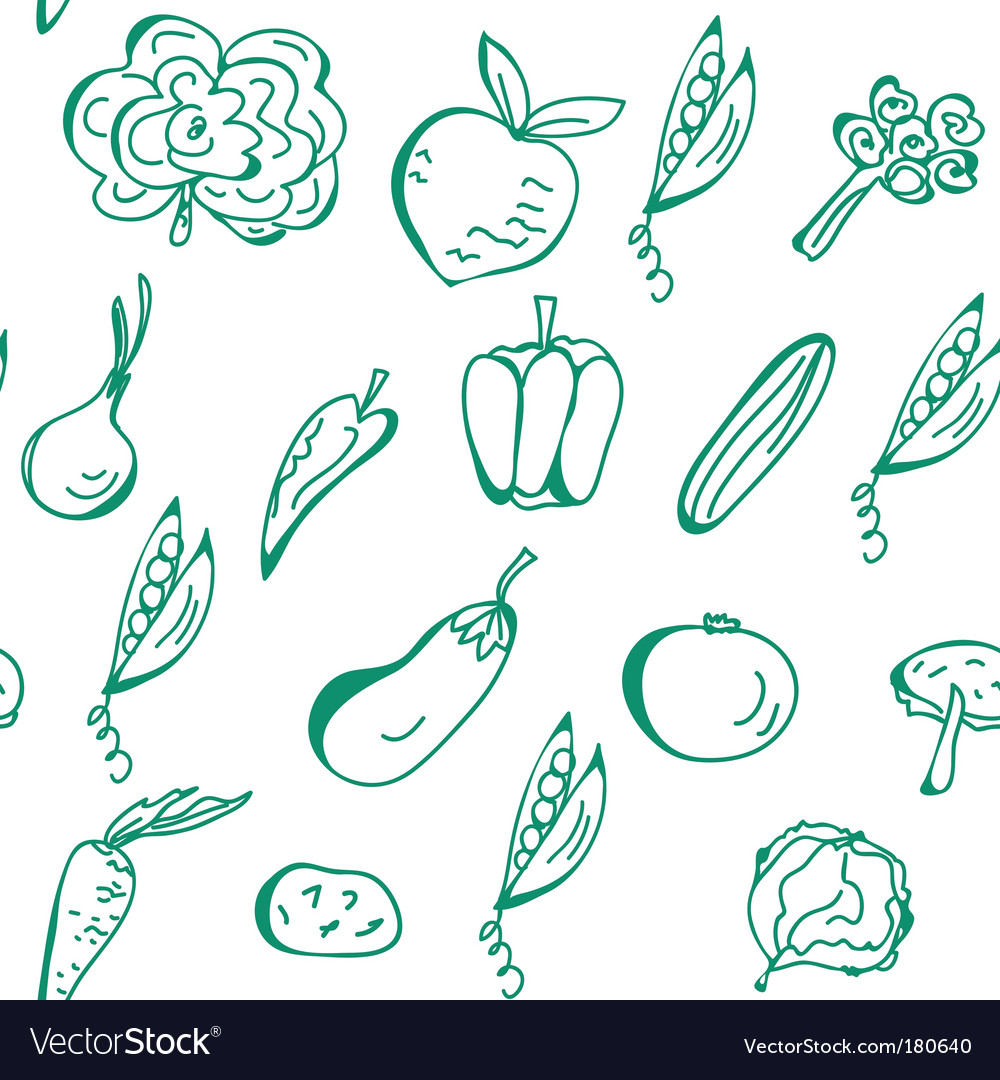 Vegetables hand drawn seamless pattern vector | Price: 1 Credit (USD $1)
