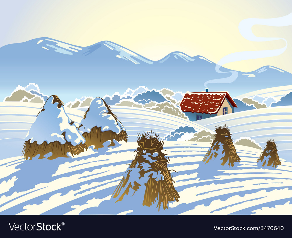 Winter rural landscape vector | Price: 3 Credit (USD $3)