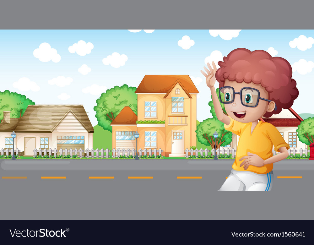 A boy jogging in front of the neighborhood vector | Price: 3 Credit (USD $3)