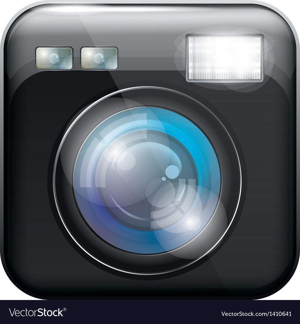 App icon with camera lens and flash light f vector | Price: 1 Credit (USD $1)