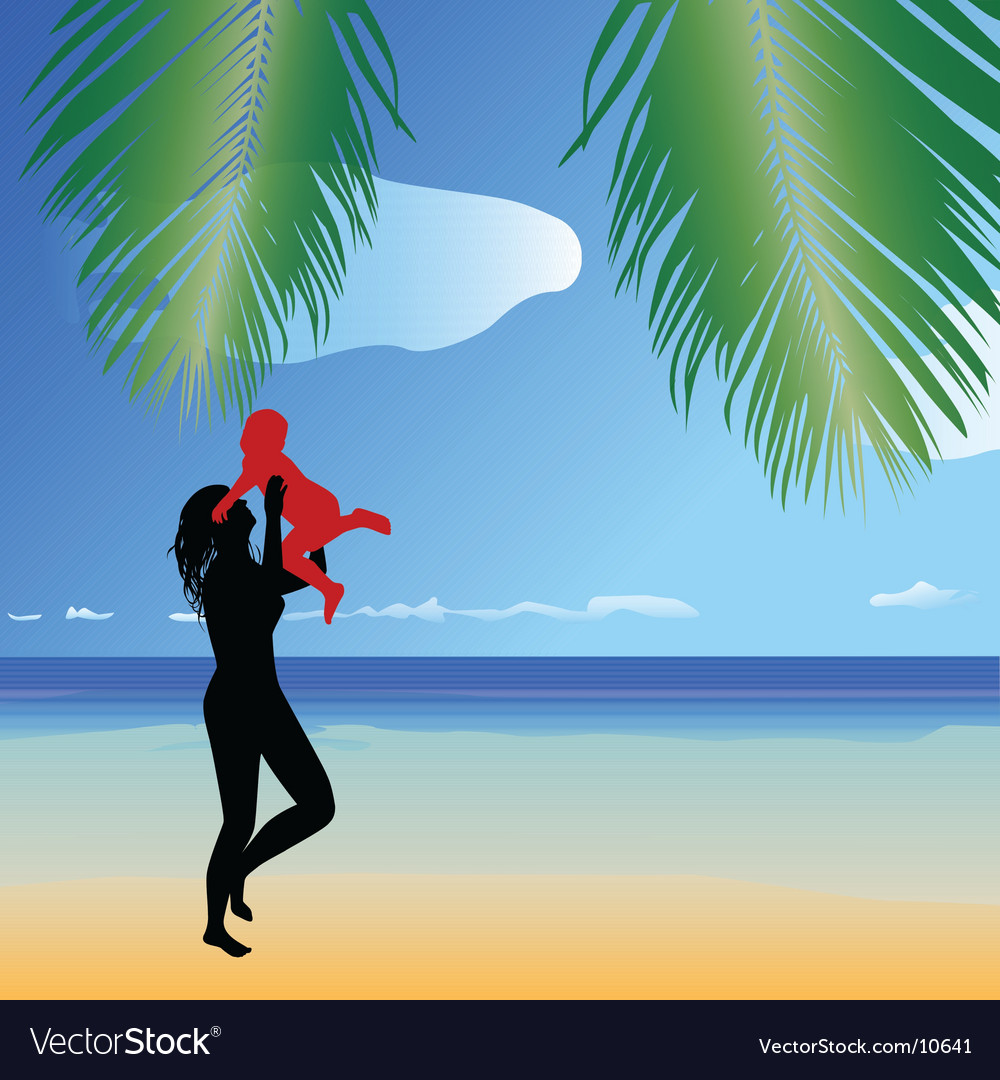 Beach scene with family vector | Price: 1 Credit (USD $1)