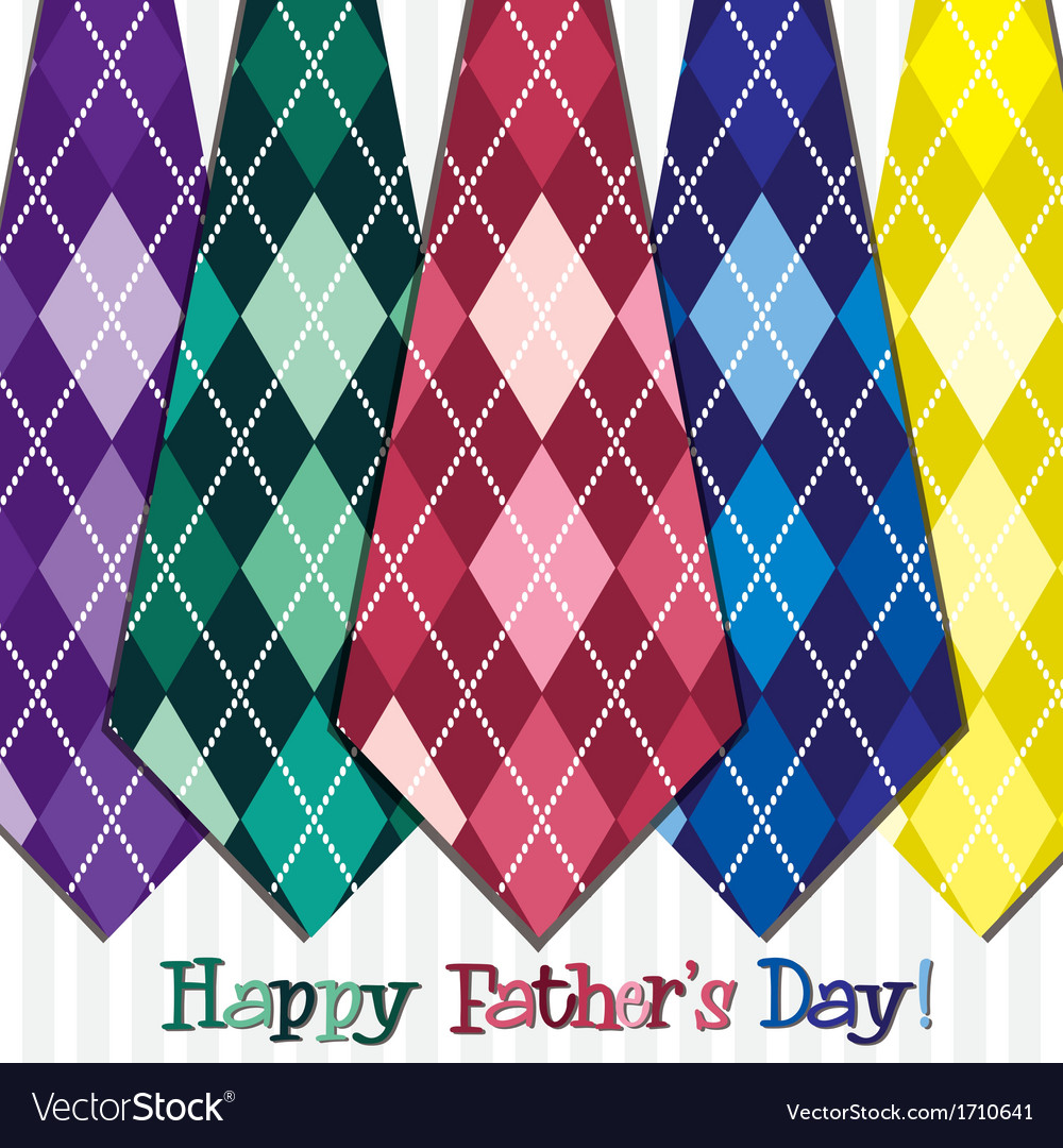 Bright happy fathers day neck tie card in format vector | Price: 1 Credit (USD $1)