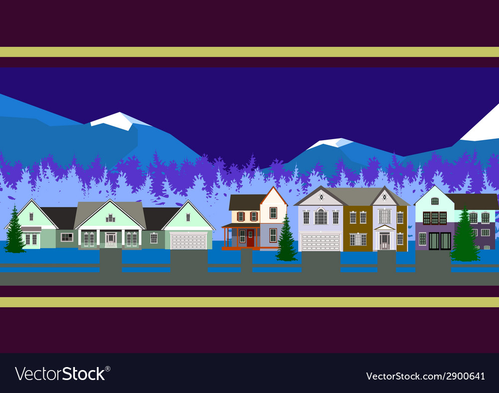 Christmas houses panorama vector | Price: 1 Credit (USD $1)
