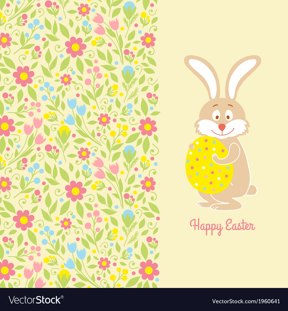 Easter bunny card with egg vector | Price: 1 Credit (USD $1)