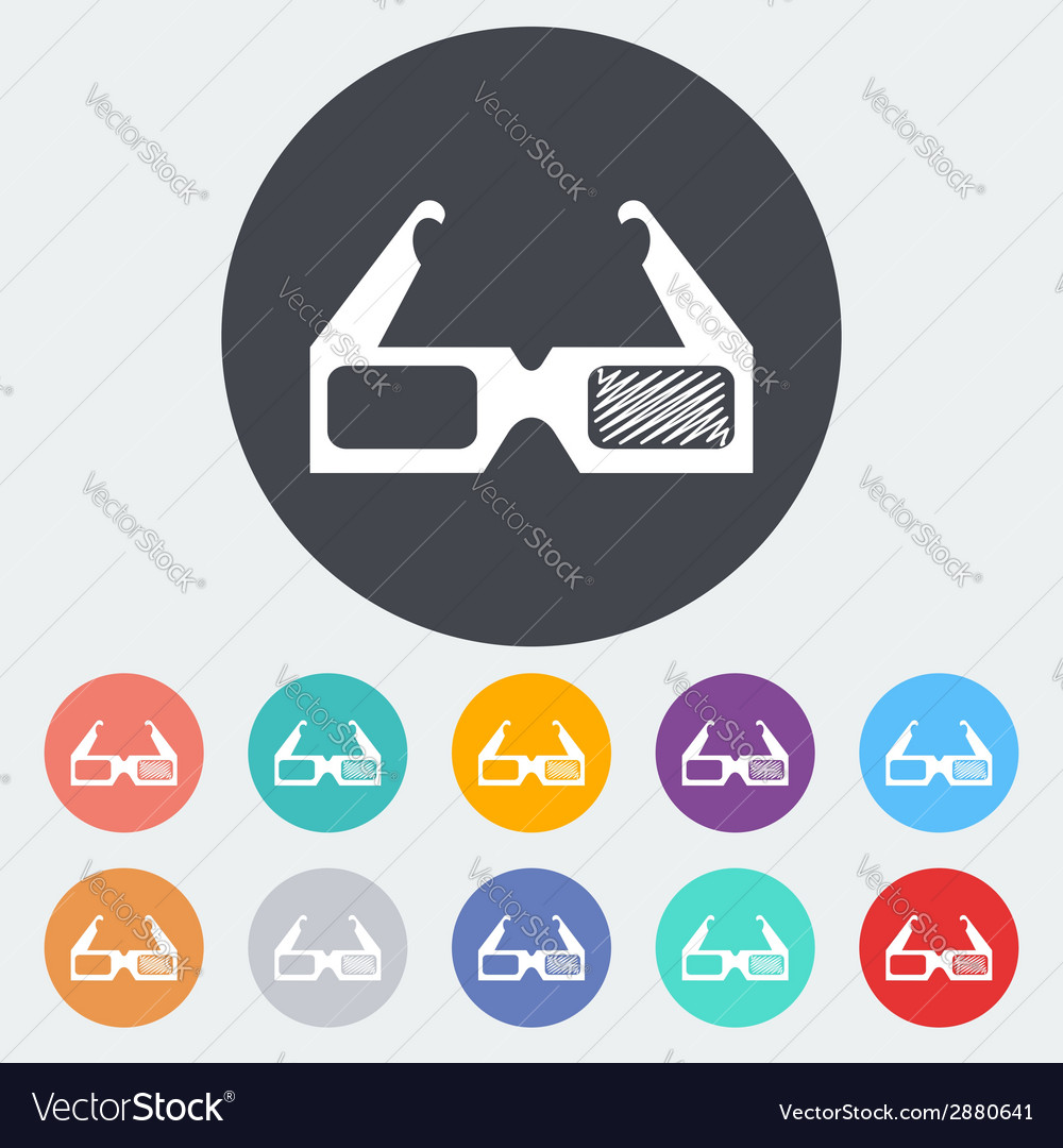 Glasses 3d single icon vector | Price: 1 Credit (USD $1)
