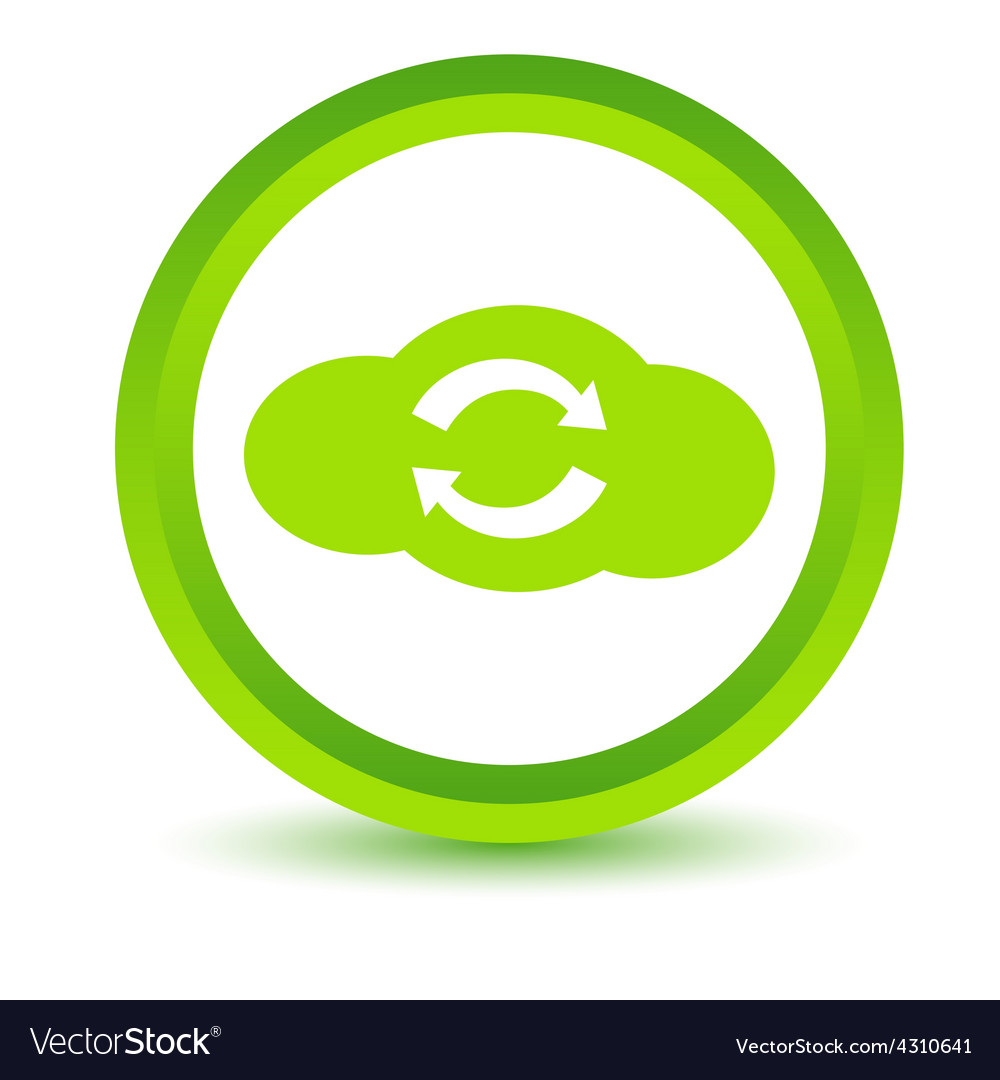 Green synchronization cloud icon vector | Price: 1 Credit (USD $1)