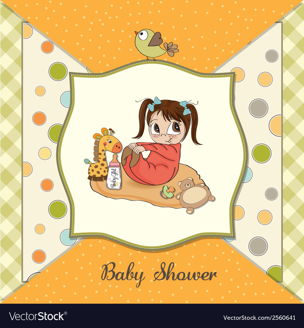 Little baby girl play with her toys baby shower vector | Price: 1 Credit (USD $1)