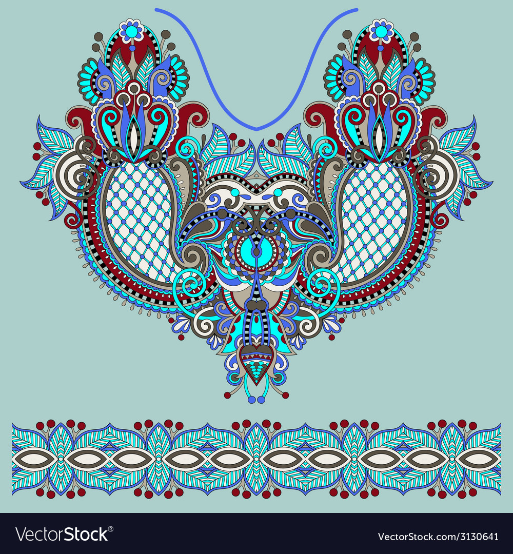 Neckline ornate floral paisley embroidery fashion vector | Price: 1 Credit (USD $1)