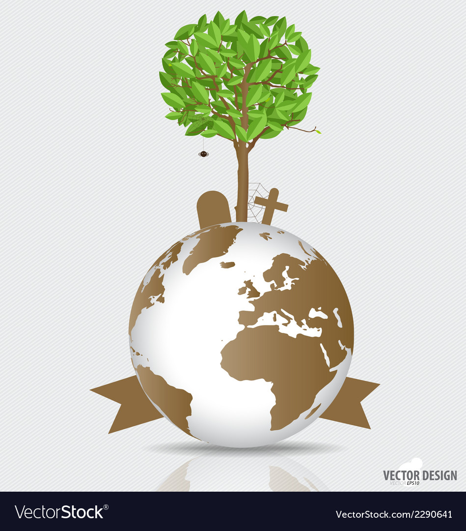 Save the world tree on a deforested globe vector | Price: 1 Credit (USD $1)