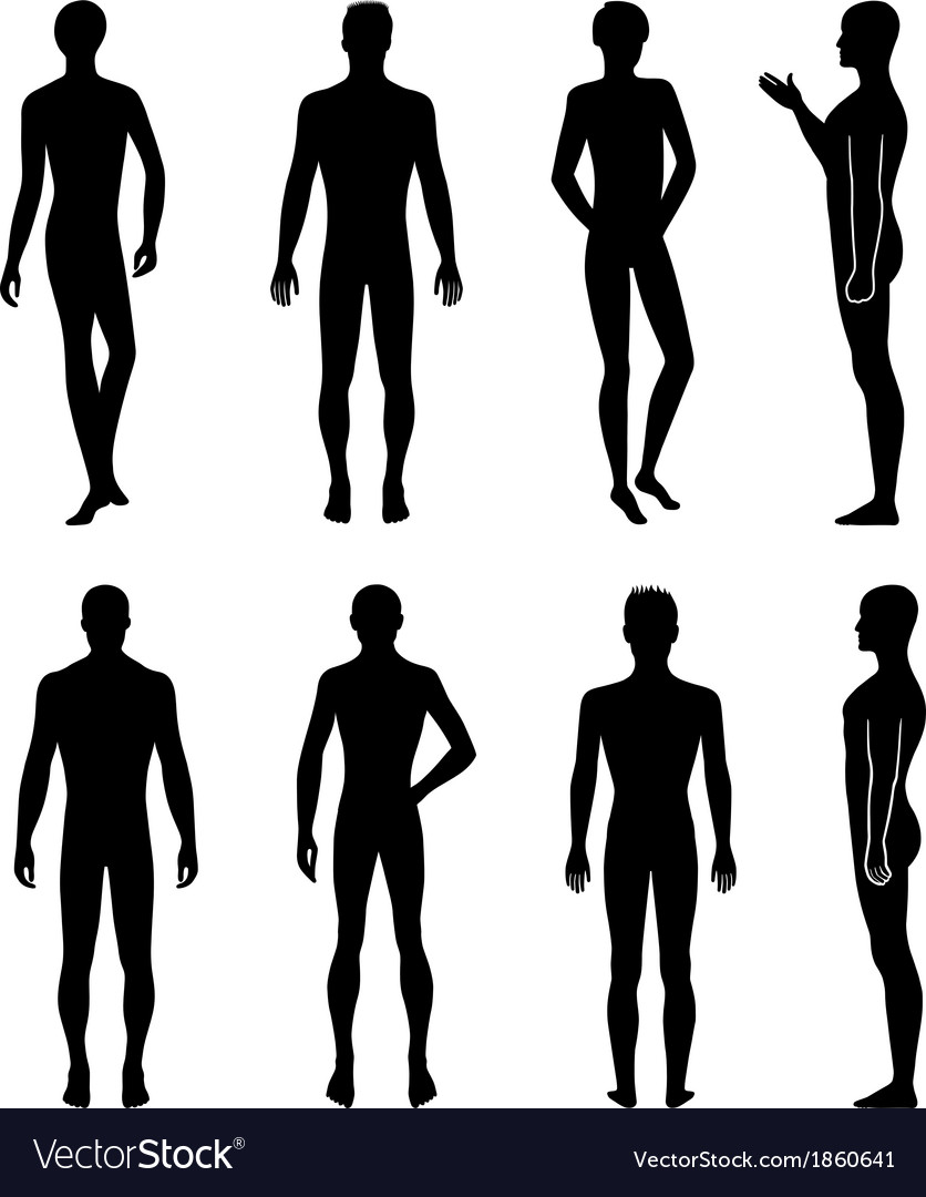 Set of full length front back silhouette of man vector | Price: 1 Credit (USD $1)