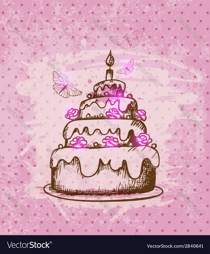 Vintage hand drawn cake vector | Price: 1 Credit (USD $1)