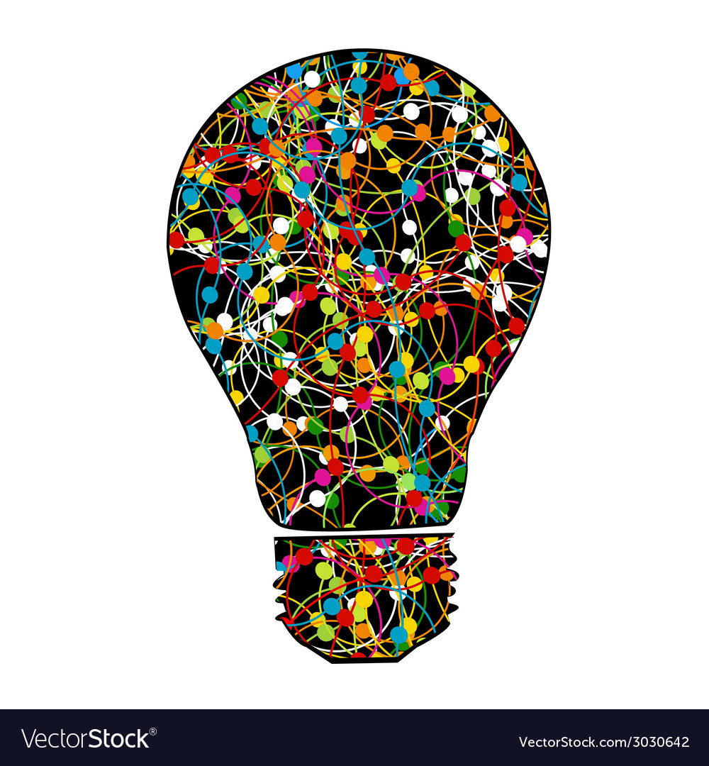 Creative light bulb with colorful network on white vector | Price: 1 Credit (USD $1)