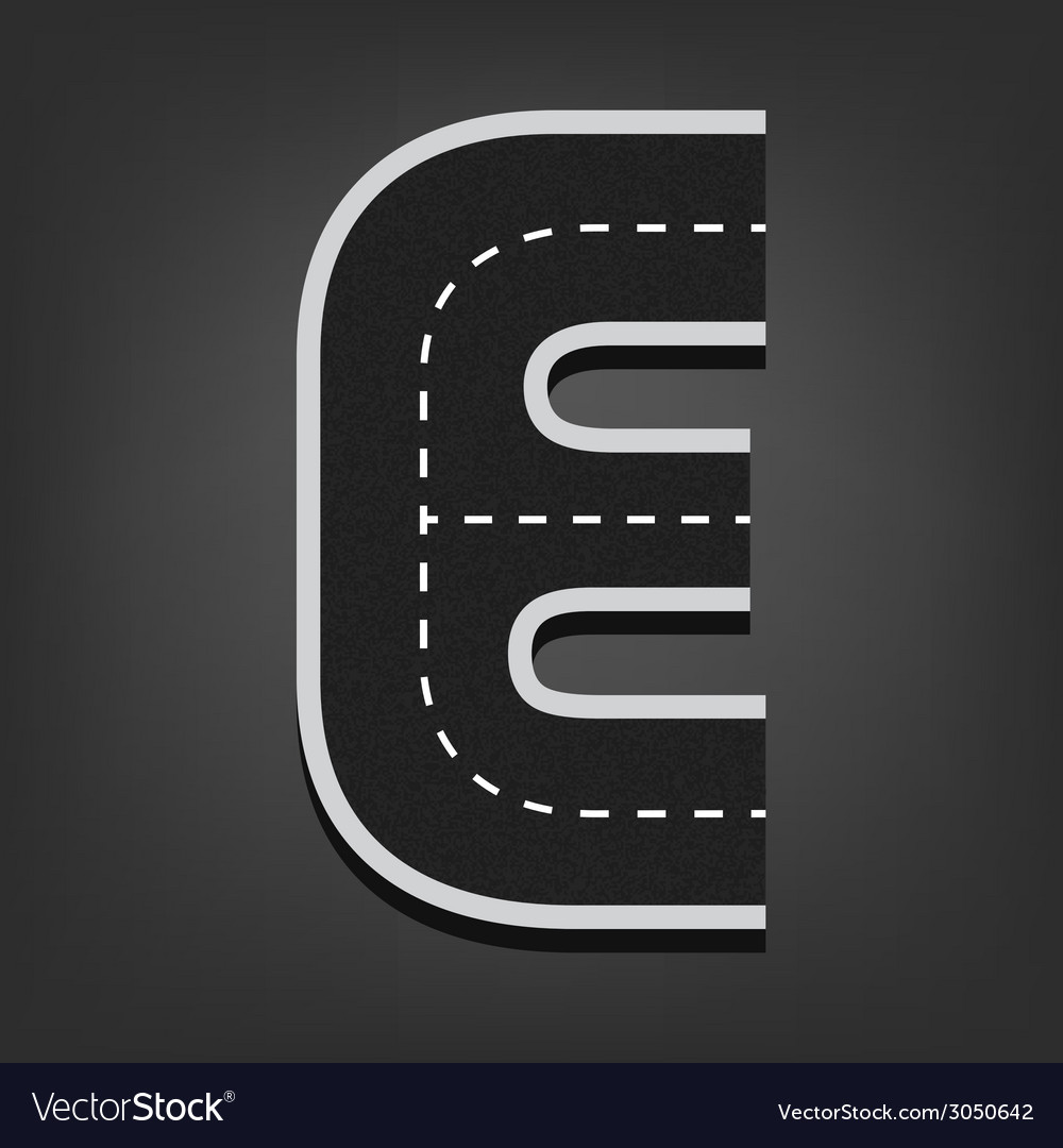 E letter road font vector | Price: 1 Credit (USD $1)