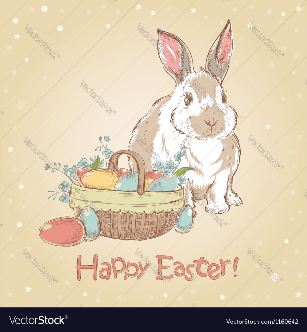 Easter retro card with cute hand drawn bunny vector | Price: 1 Credit (USD $1)
