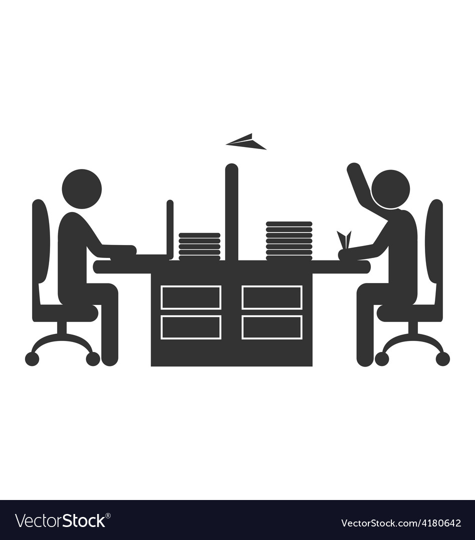 Flat office icon worker with paper plane isolated vector   Price: 1 Credit (USD $1)