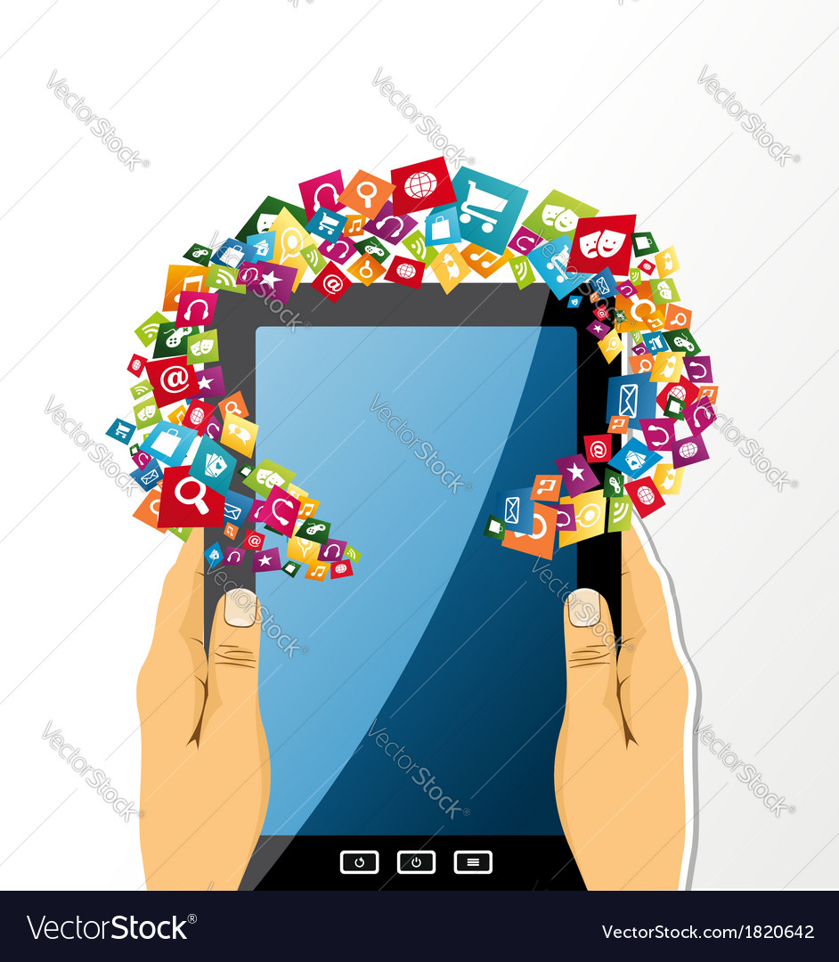 Human hands holds tablet pc app icons vector | Price: 1 Credit (USD $1)
