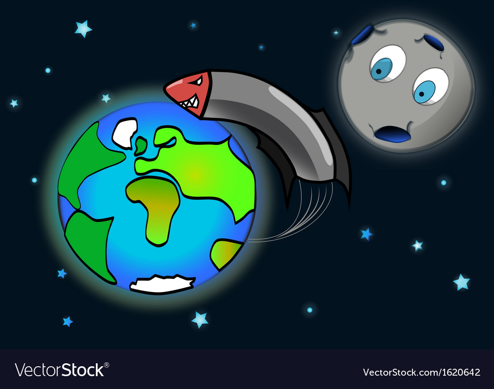 Rocket flying around the earth shocked moon vector | Price: 1 Credit (USD $1)
