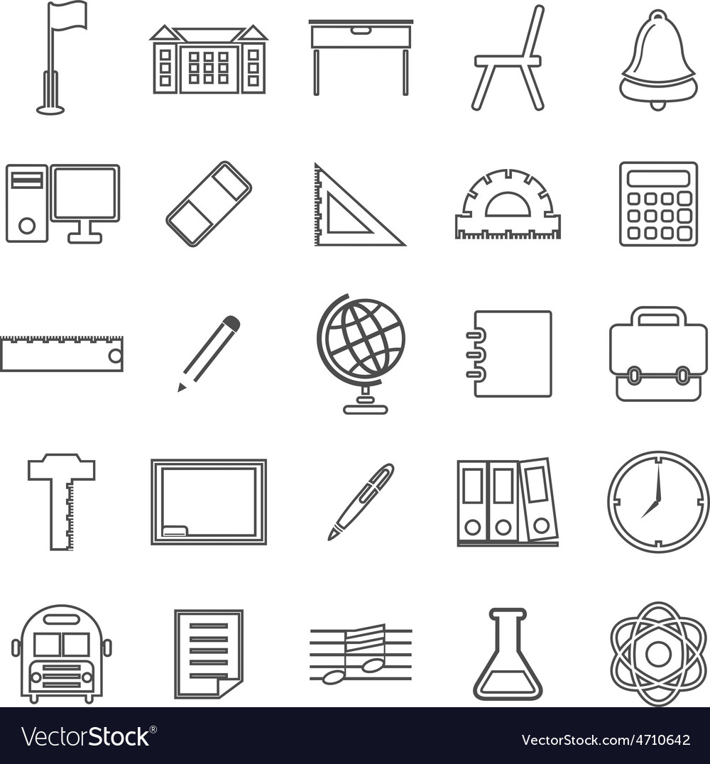 School line icons on white background vector | Price: 1 Credit (USD $1)