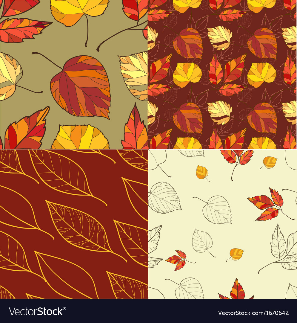 Set of four autumn leaves backgrounds vector | Price: 1 Credit (USD $1)