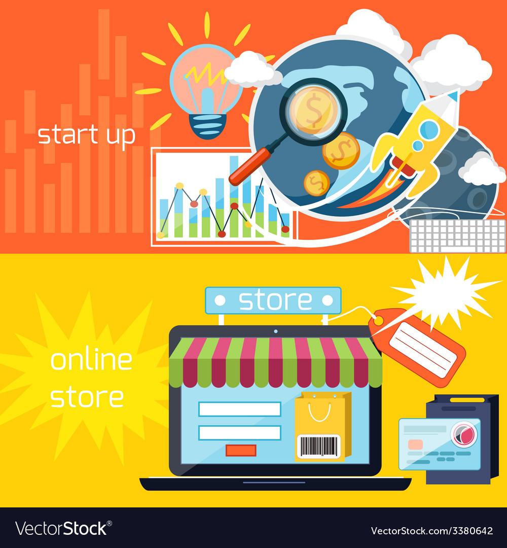 Start up and online store icons vector | Price: 1 Credit (USD $1)
