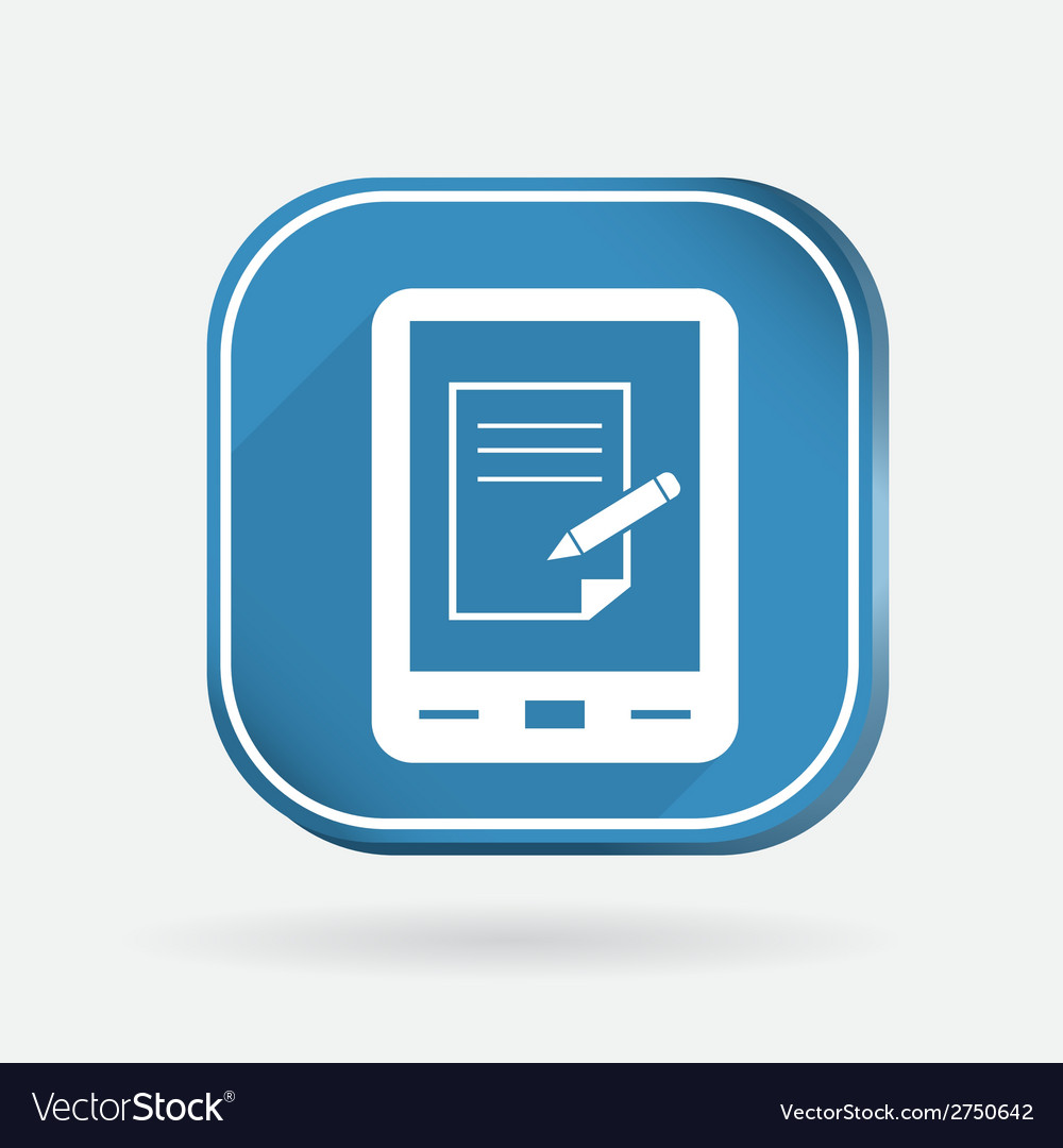 Tablet pad with sheet of paper color square icon vector | Price: 1 Credit (USD $1)